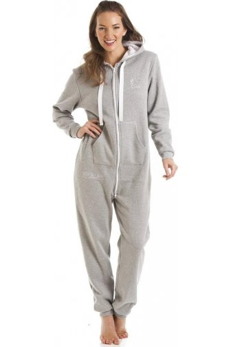 Womens Fox In A Box Grey Hooded Onesie Jumpsuit