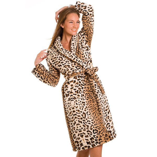New Ladies Soft Gold Leopard Printed Dressing Gown Womens Robe Size 10-24 Uk 6b8044927