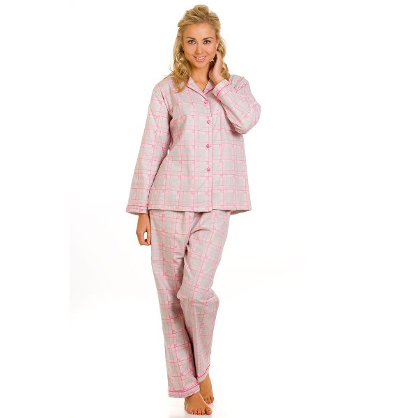 Ladies Grey Pink Camille Cotton Wincy Pyjamas Set Womens Top Bottoms Size  10-24 fe5023a9b2