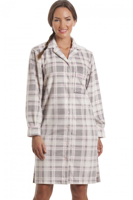 Camille Womens Grey Checkered Fleece Button Front Nightshirt