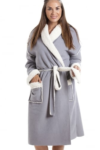 Womens Grey Stay Soft Bonded Fleece Dressing Gown
