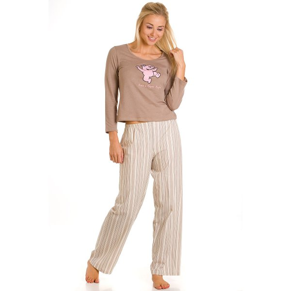 f5d1901ec1 Camille Ladies Fawn Hippo Cotton Trousers Long Sleeved Pyjamas Top Size  10-22 Uk