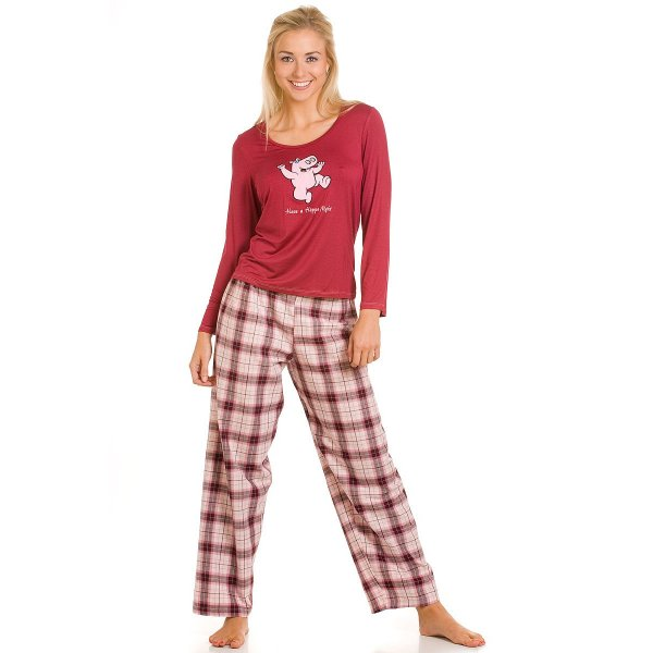 3bf1e296ec Camille Ladies Rose Cotton Hippo Trousers Long Sleeved Pyjamas Top Size  10-22 Uk