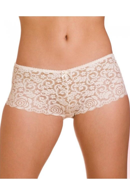 Camille Womens Ivory Charisma Floral Lace Mesh Boxer Shorts
