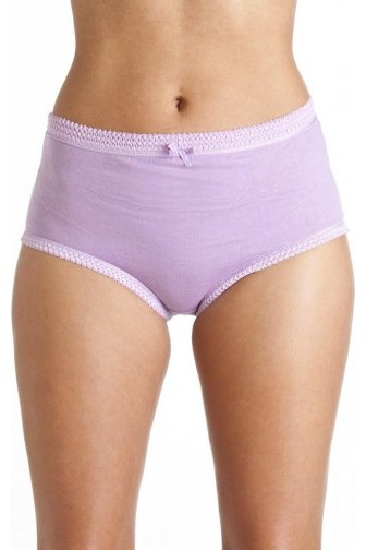 Camille womens Ladies 3 Pairs 100% Cotton Purple Mix Full Comfort Briefs
