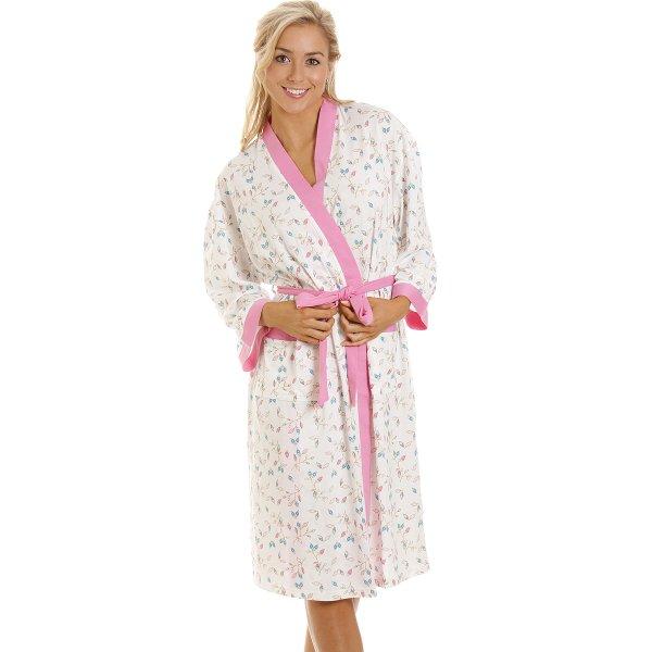 Womens Aqua Floral Print Lightweight Robe