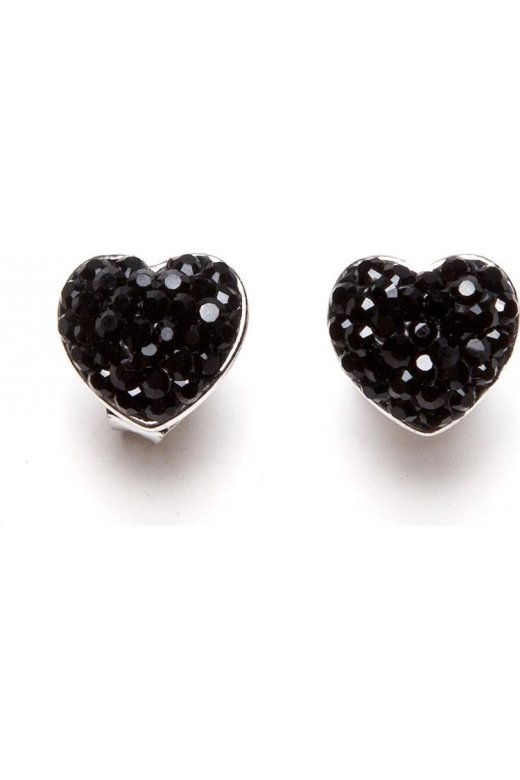 Womens Ladies Black Diamante Heart Silver Plated Stud Earrings