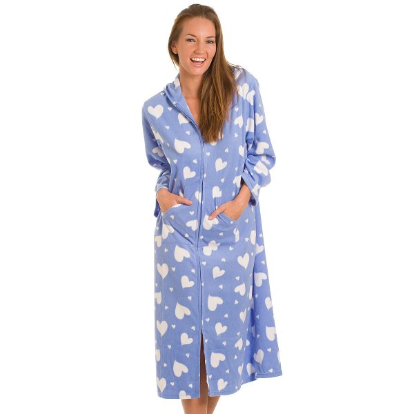 blue heart print long zip up hooded fleece dresing gown robe. Black Bedroom Furniture Sets. Home Design Ideas
