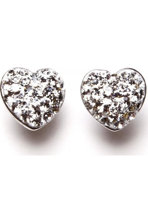 Camille Womens Ladies Clear Diamante Heart Silver Plated Stud Earrings