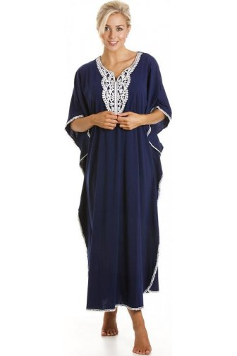 Camille Womens Ladies Embroidered Long Length Various Colours Kaftan Beachwear One Size