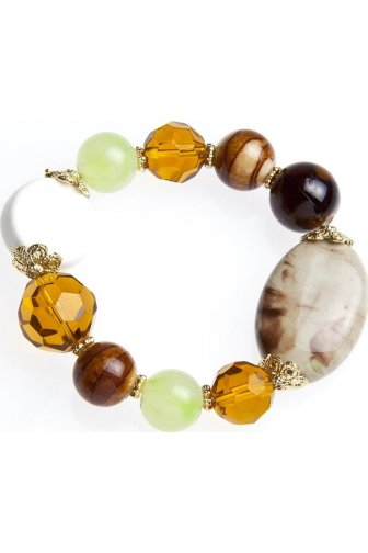 Womens Ladies Fashion Jewellery Asymmetric White And Amber Stone Bead Stretchy Bracelet Bangle