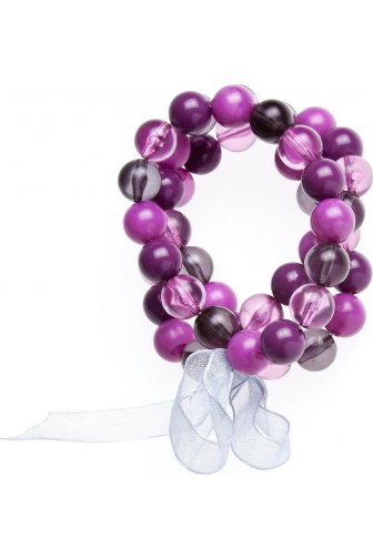 Womens Ladies Fashion Jewellery Purple And Pink 3 String Bead Adjustable Stretchy Bracelet Bangle