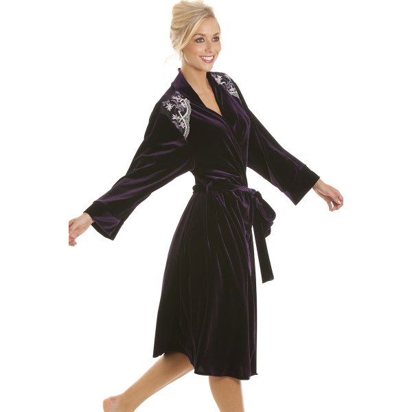 womens full length purple velour wrap dressing gown sizes. Black Bedroom Furniture Sets. Home Design Ideas