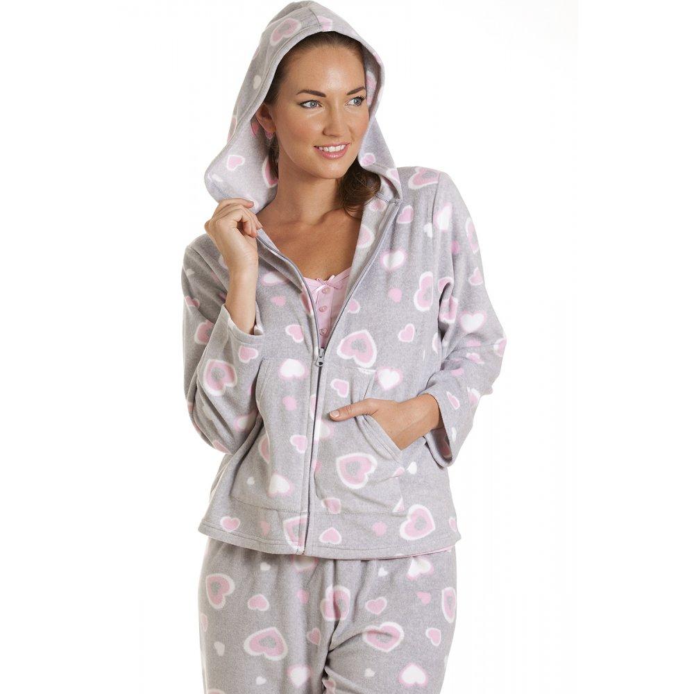 Womens 3 Piece Heart Pyjamas Grey Pink