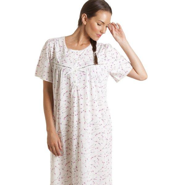 Ladies Short Sleeve Button through Nightdress Pink or White 10-24