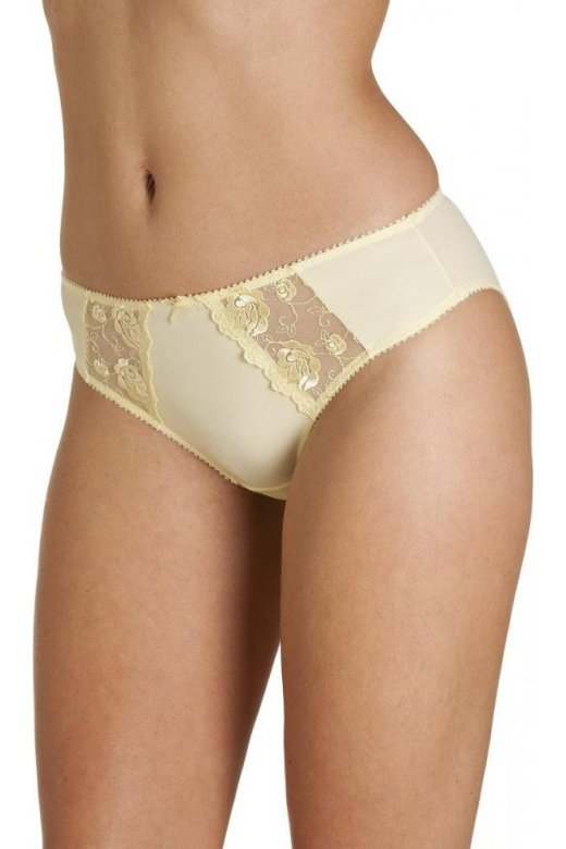 Camille Womens Ladies Lemon Yellow Jessica Lace Embroidery Underwear Briefs e0685a5c3