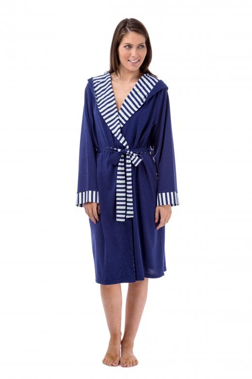 Camille Womens Ladies Lightweight Hooded Summer Dressing Gown