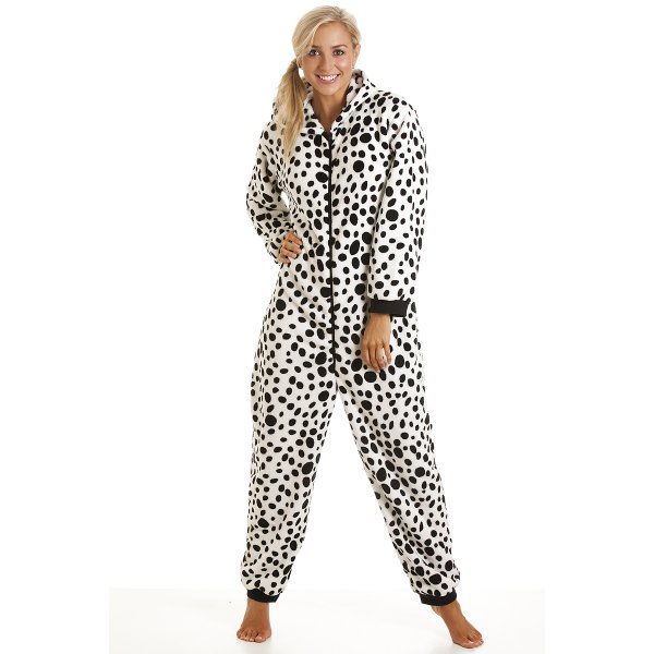 Womens Black And White Dalmation Print Onesie All In One