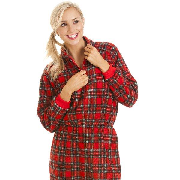 e26f58ed8d Womens Ladies Luxury All In One Red Tartan Print Hooded Fleece Onesie Pyjama  Size 10-24
