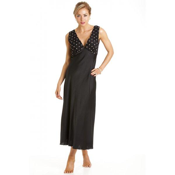 Camille Womens Ladies Luxury Black Satin Chemise Nightdress With Gold Stars  10-24 c3170aa331