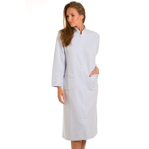 House Coat: Womens Blue Quilted Button Up Front House Coat Lounger