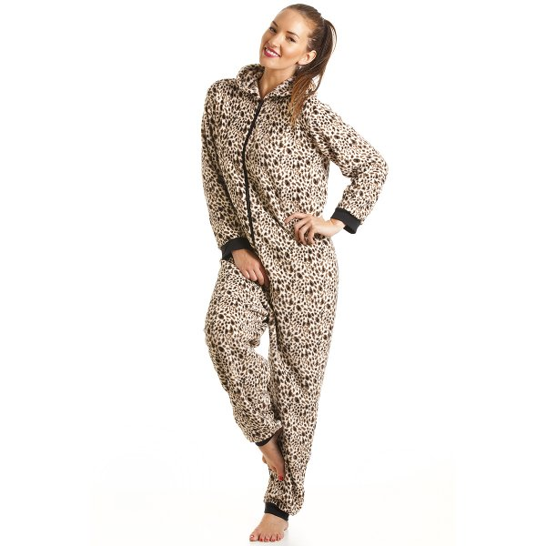 62a6fb143d Camille Womens Ladies Luxury Brown Leopard Print Hooded All In One Onesie  Pyjama Size 8-22