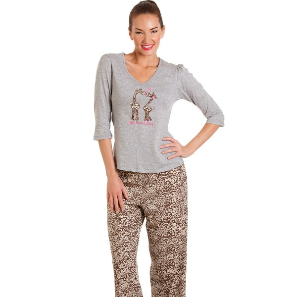 Womens Ladies Luxury Grey Giraffe Full Length Pyjama Set 6698e283c