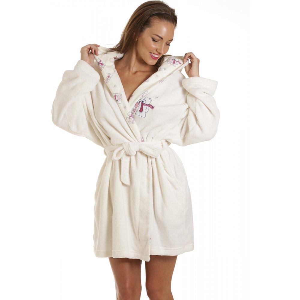 Robe: Womens Hooded Polar Bear Fleece Robe Ivory