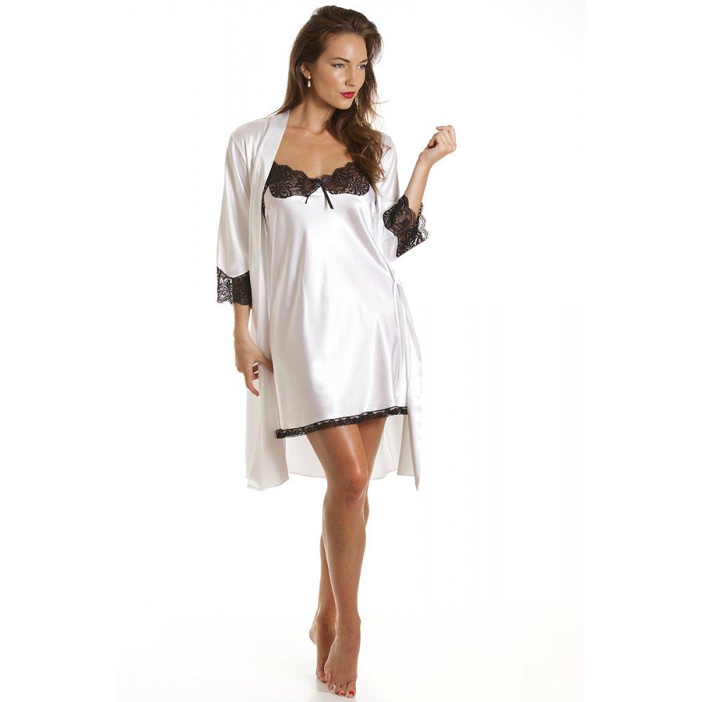 Wedding Satin Robes womens short satin wrap white sizes 10 20 ladies luxury knee length bath robe with lace trim cuffs 10