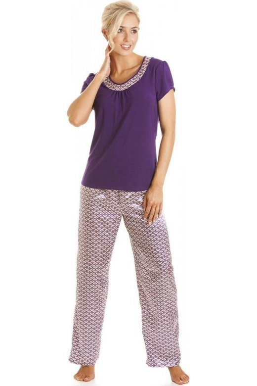 Camille Womens Ladies Luxury Long Length Satin and Cotton Modal Purple  Pyjamas Sizes 10-22 34abdd1b3