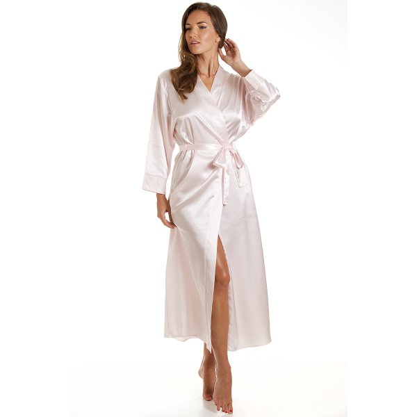 Camille Womens Ladies Luxury Long Pink Satin Bath Robe Wrap 10-20 83e2570da9