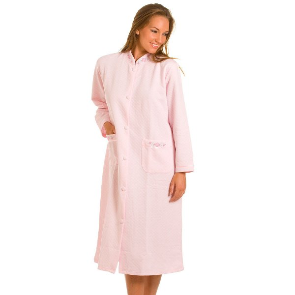 House Coat: Pink Quilted Button Front House Coat Womens Lounger