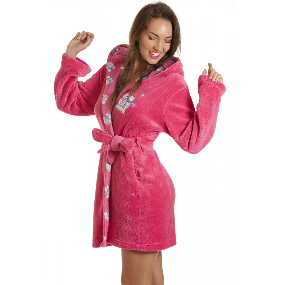 womens ladies luxury pink soft fleece knee length polar. Black Bedroom Furniture Sets. Home Design Ideas