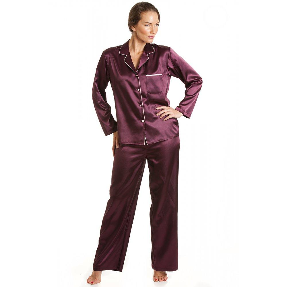Womens Ladies Luxury Satin Long Length Burgundy Brown ...