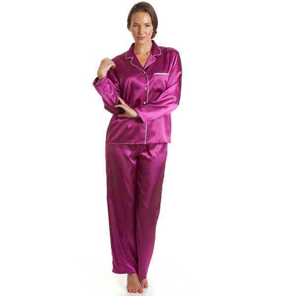 Womens Ladies Luxury Satin Long Length Fuchsia Pyjamas Set Sizes 10-22 ec1d04a3f