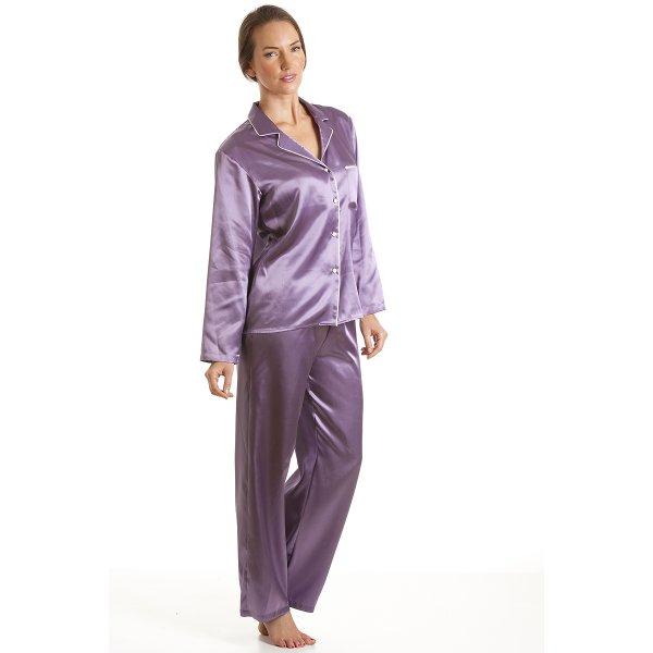 ae008f3b2c36e Womens Ladies Luxury Satin Long Length Lilac Pyjamas Set Sizes 10-22