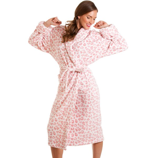 Ladies Dressing Gowns: Womens Supersoft Pink Leopard Print Robe Sizes 8-18