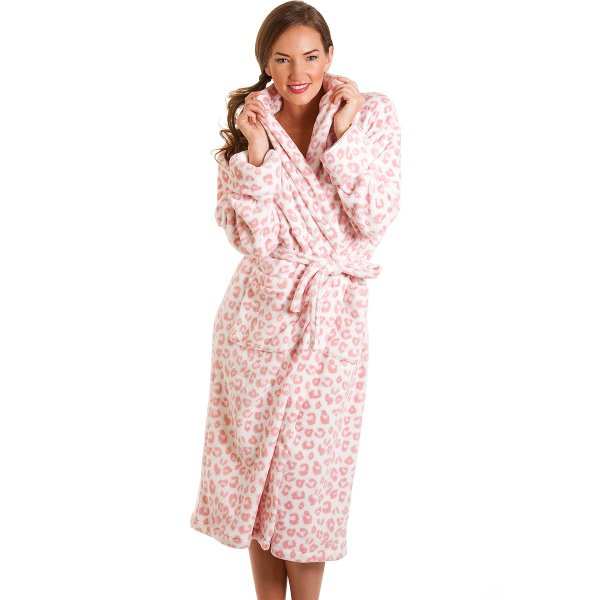 Womens Supersoft Pink Leopard Print Robe sizes 8-18
