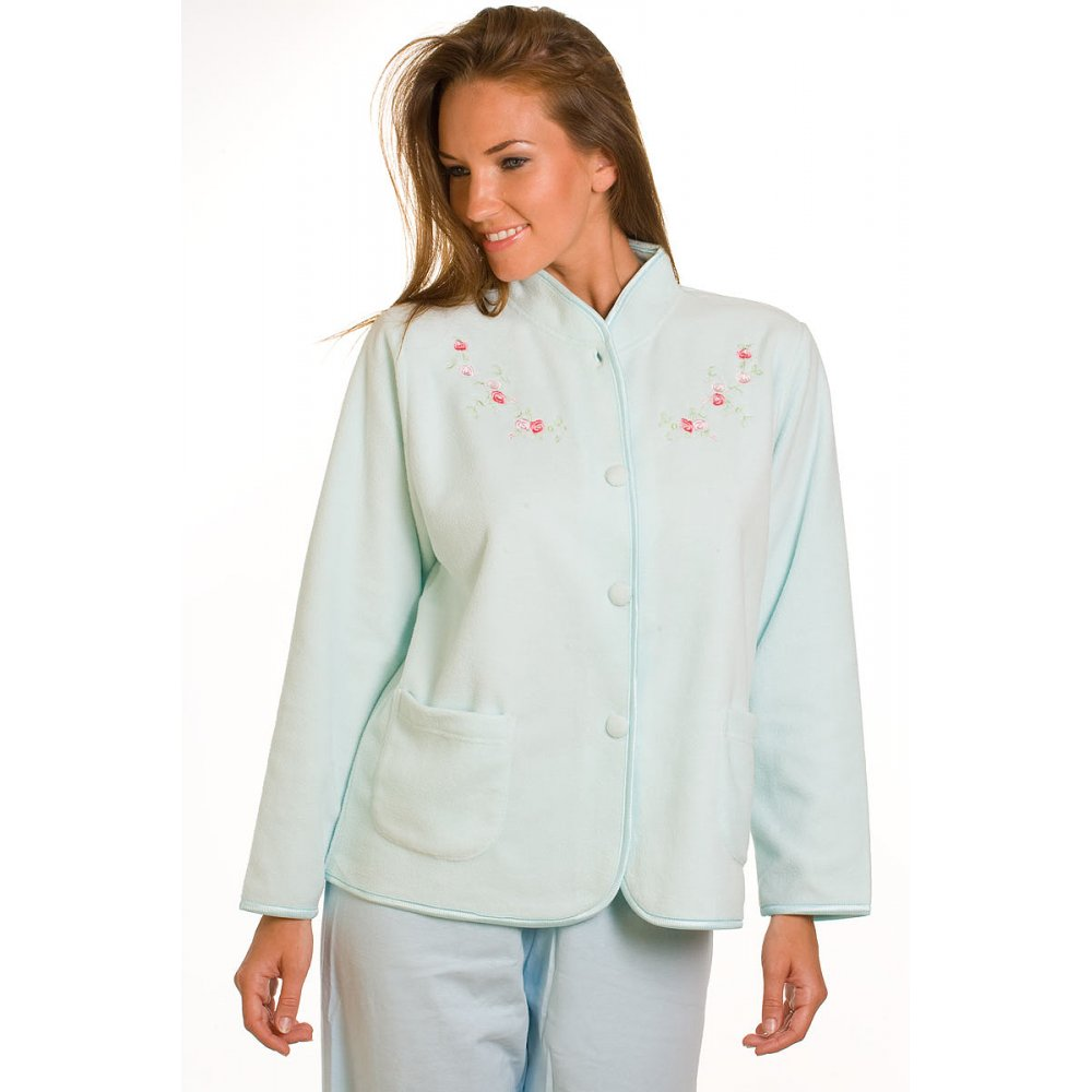 A. bed jacket, according to dictionary definitions, is a waist–length, women's garment worn to cover the upper body while sitting up in bed. Its shorter length and loose shape allow it to easily be donned or taken off while in bed.