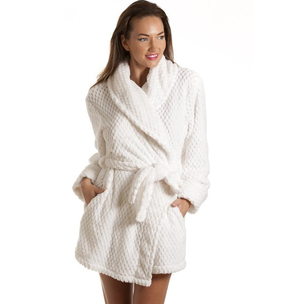 100% quality buy real shop for best Camille Womens Ladies Luxury White Soft Jacquard Waffle Bath Robe 10-20