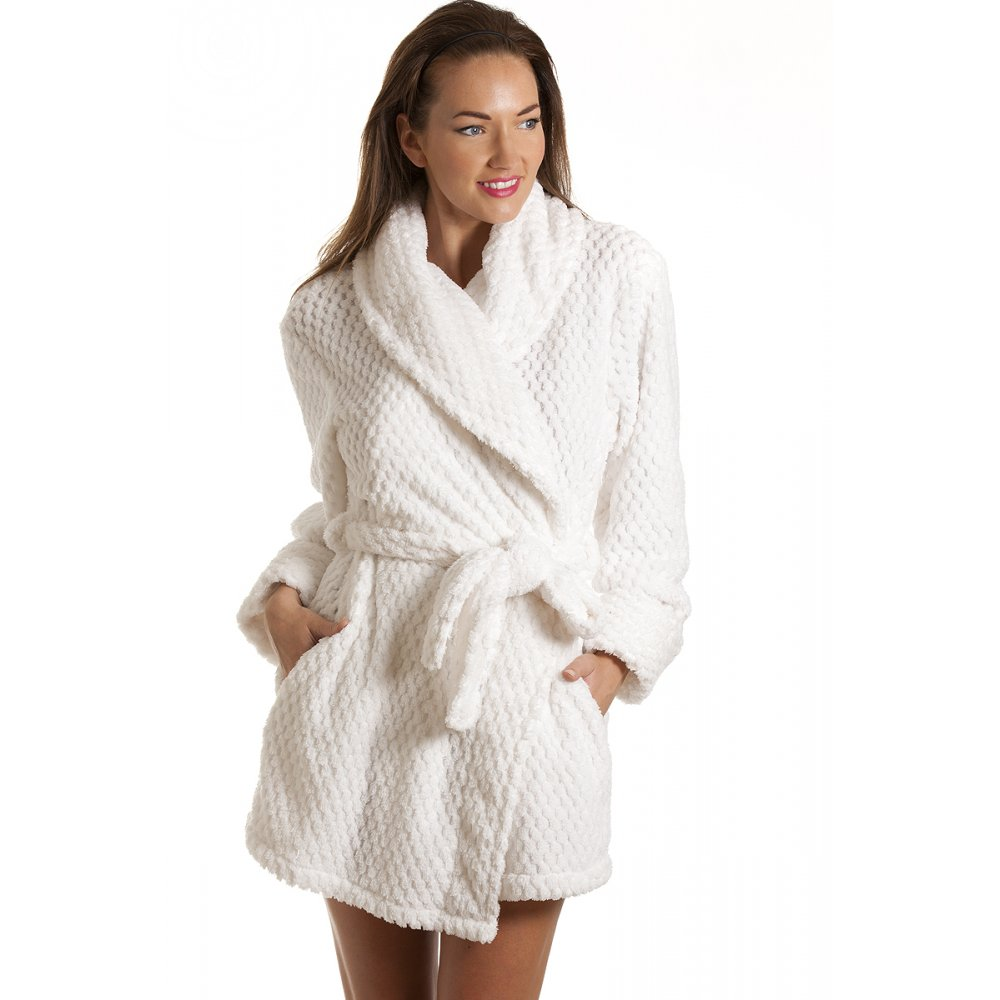 Robe: Womens Jacq Waffle Robe White