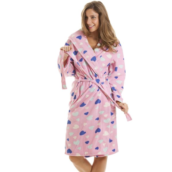 Womens Ladies Nightwear Pink Heart Print Dressing Gown Robe Size 10-20