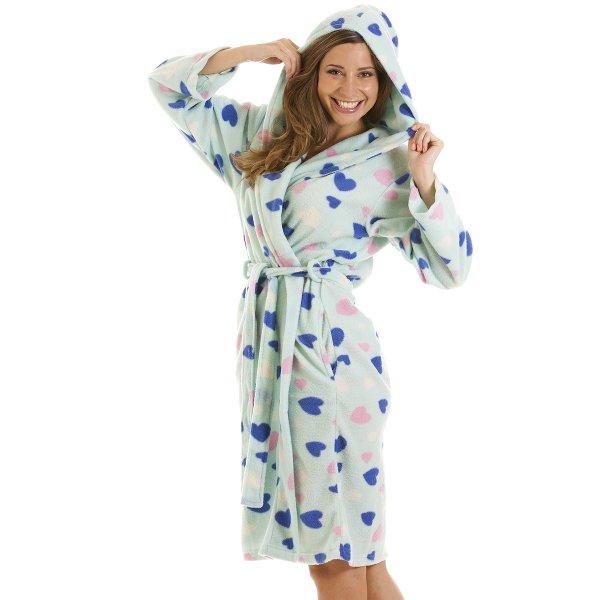 Womens Ladies Nightwear Turquoise Heart Print Dressing Gown Robe ...