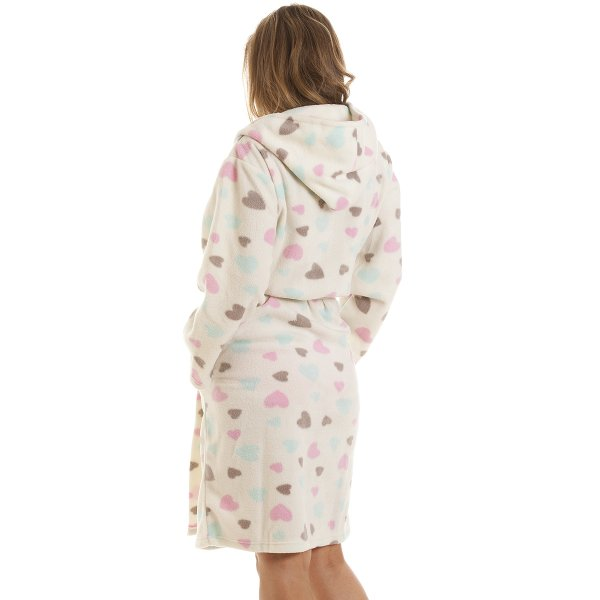 Womens Ladies Nightwear White Heart Print Dressing Gown Robe Size 10-16