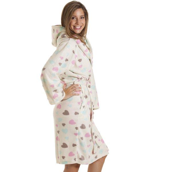 c71e1a962e Camille Womens Ladies Nightwear White Heart Print Dressing Gown Robe Size 10 -16