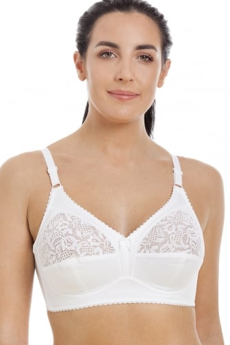 Womens Ladies Non Wired Half Lace Soft Cup Non Padded White Bra 34B-44DD