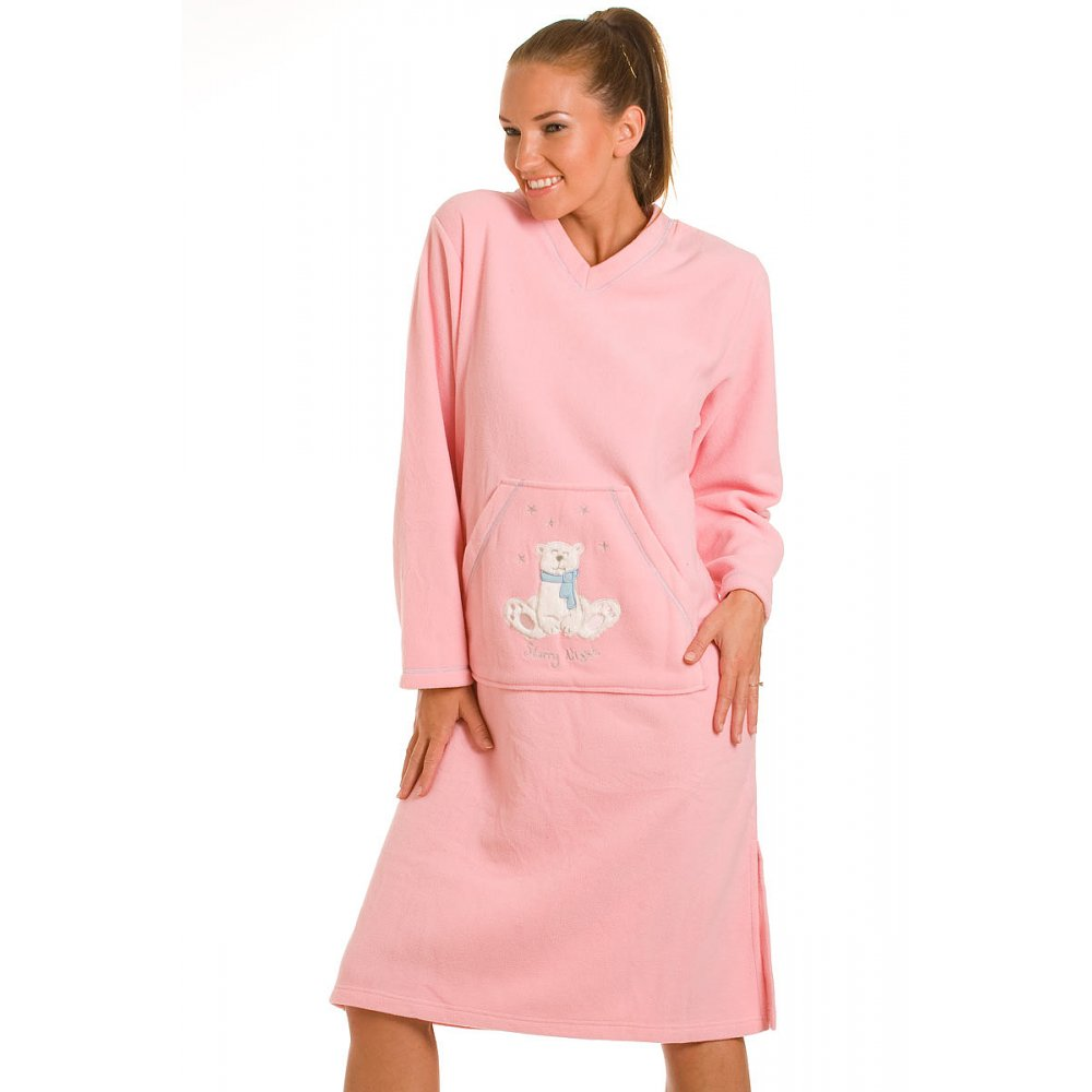 new ladies camille pink fleece lounger polar bear embroidered starry nightgown night dress. Black Bedroom Furniture Sets. Home Design Ideas