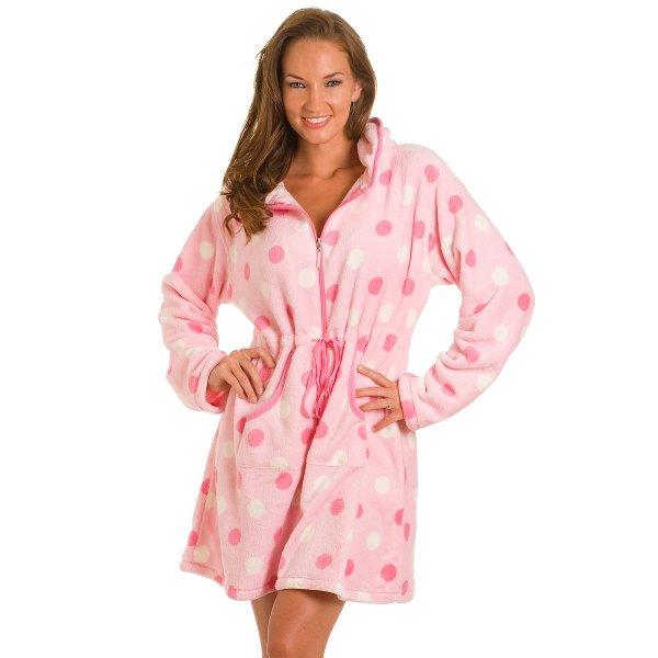 Pink Spot Zip Front Robe
