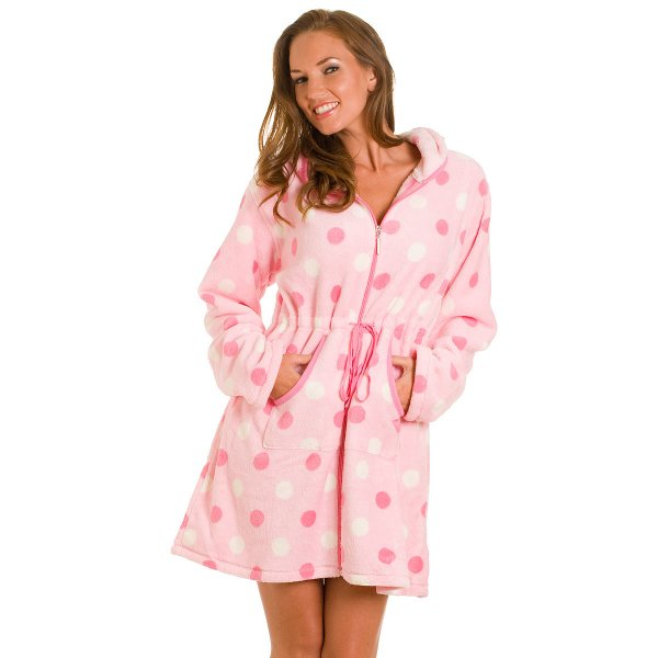 Camille Womens Ladies Pink Fleece Spotted Polka Dot Zip Up Front Bath Robe  Size 18- 452890547