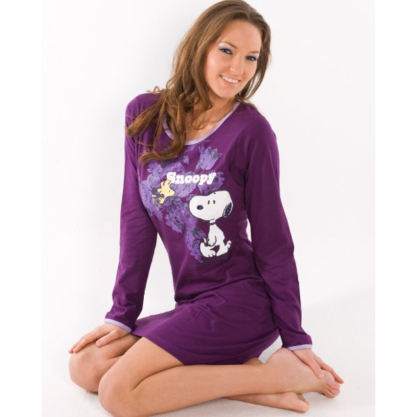 New Ladies Camille Knee Length Night Shirt Long Sleeve Cotton Snoopy ...